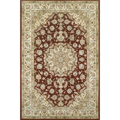 Hand-Tufted Burgundy/Red Area Rug Rug Size: Oval 3'6