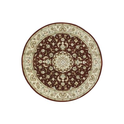 Hand-Tufted Burgundy/Red Area Rug Rug Size: Round 4