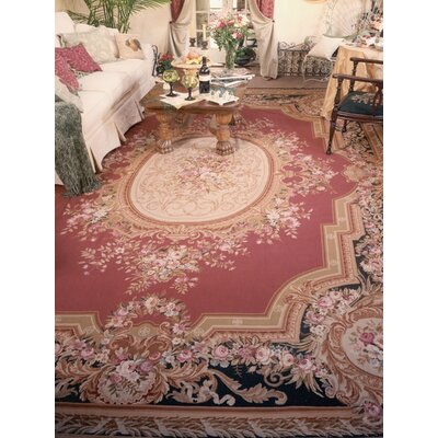 Aubusson Hand-Woven Burgundy Area Rug Rug Size: Rectangle 9 x 12