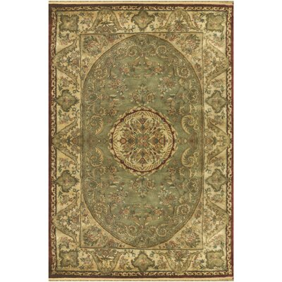 Savonnerie Hand-Tufted Sage Green Area Rug Rug Size: Rectangle 76 x 96