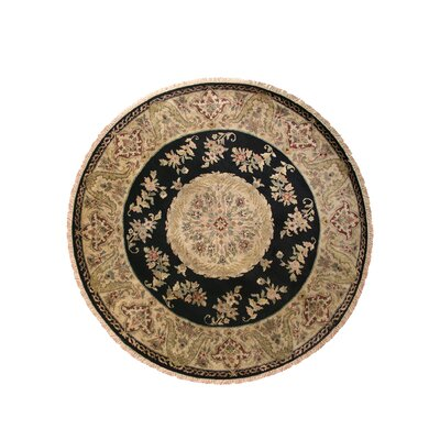 Savonnerie Hand-Tufted Black Area Rug Rug Size: Round 10