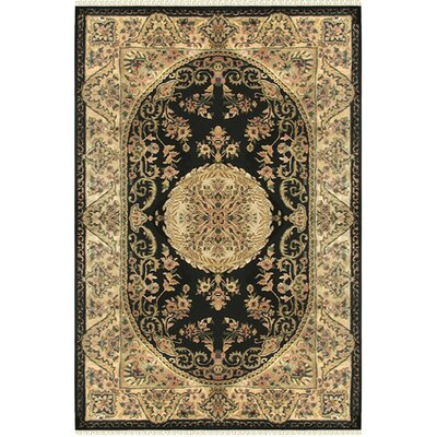 Savonnerie Hand-Tufted Black Area Rug Rug Size: Square 8