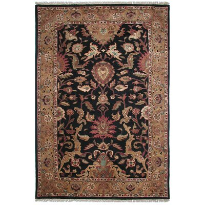 Agra Handmade Black Area Rug Rug Size: Rectangle 76 x 96
