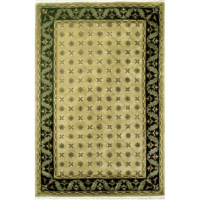 English Hand-Tufted Beige Area Rug Rug Size: 96 x 136