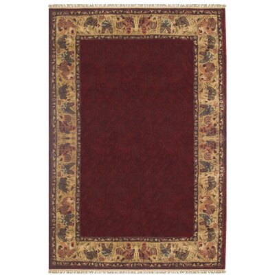 Chicken and Rooster Hand-Tufted Burgundy Area Rug Rug Size: 36 x 56