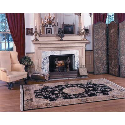 Alpha Rectangle Hand-Tufted Black Area Rug Rug Size: Rectangle 86 x 116