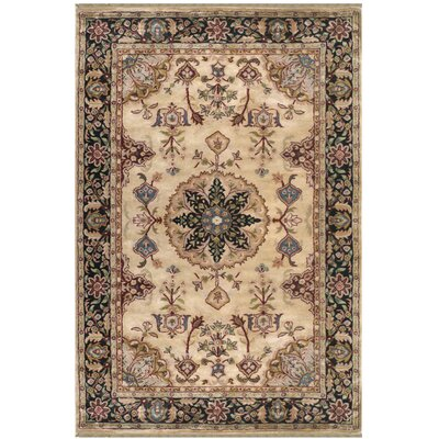 Tabriz Hand-Tufted Beige / Antique Ivory Area Rug Rug Size: 86 x 116