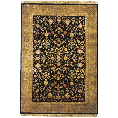 Tabriz Hand-Tufted Black Area Rug Rug Size: 5'6