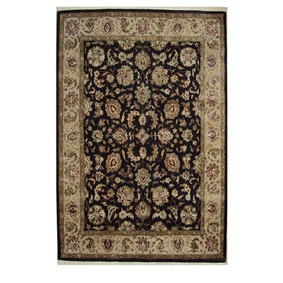 Agra Hand-Tufted Black Area Rug Rug Size: 36 x 56