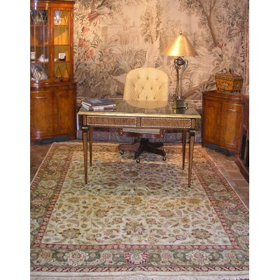 Fitz Rectangle Hand-Tufted Beige/Ivory Area Rug Rug Size: Rectangle 76 x 96