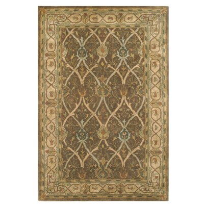 Arts and Crafts Hand-Tufted Brown Area Rug Rug Size: 56 x 86
