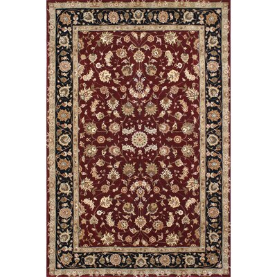 Hand-Tufted Burgundy/Red Area Rug Rug Size: Oval 56 x 86