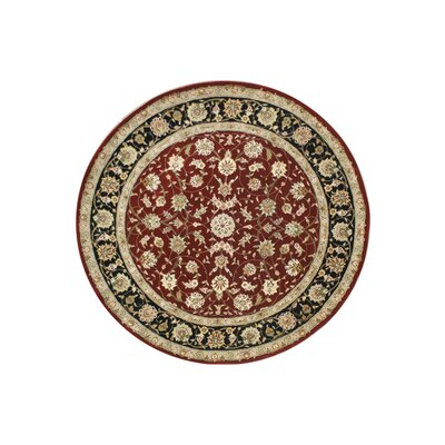 Hand-Tufted Burgundy/Red Area Rug Rug Size: Round 56