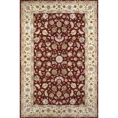 Hand-Tufted Burgundy/Red Area Rug Rug Size: Oval 36 x 56