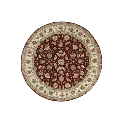 Hand-Tufted Burgundy/Red Area Rug Rug Size: Round 10