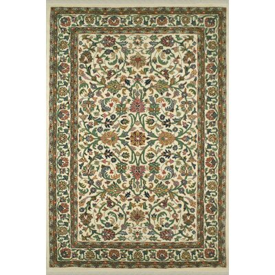 American Home Classic Kashan Ivory Area Rug Rug Size: 76 x 96