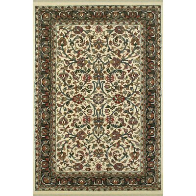 American Home Classic Kashan Ivory/Green Area Rug Rug Size: 76 x 96