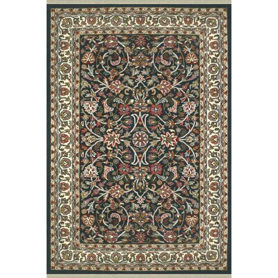 American Home Classic Kashan Navy/Ivory Area Rug Rug Size: 2' x 3'