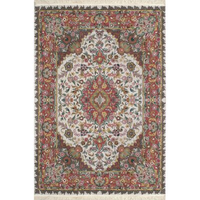 American Home Classic Tabriz Antique Ivory/Rose Area Rug Rug Size: Runner 26 x 6