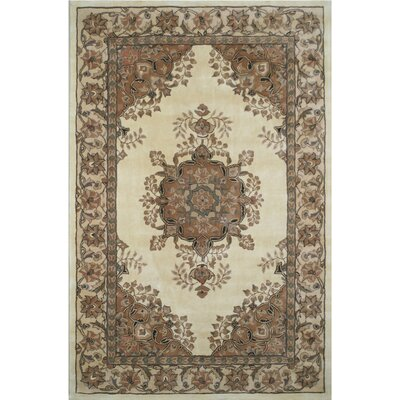 American Home Classic Persian Kerman Ivory/Beige Area Rug Rug Size: 76 x 96
