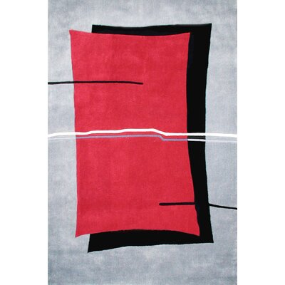 Handmade Red/Grey Area Rug Rug Size: 36 x 56