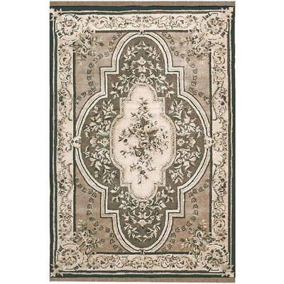 American Home Classic Aubuson Taupe/Black Area Rug Rug Size: 86 x 116