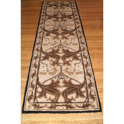 American Home Classic Arts & Craft Taupe/Black Area Rug Rug Size: Runner 26 x 8