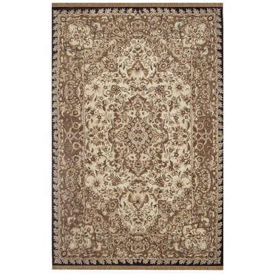 American Home Classic Tabriz Taupe/Black Area Rug Rug Size: Rectangle 56 x 86