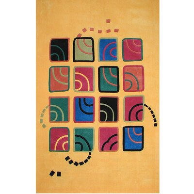 Bright Swirling Blocks Yellow Area Rug Rug Size: 5 x 8