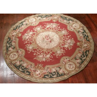 Aubusson Hand-Woven Burgundy Area Rug Rug Size: Round 6