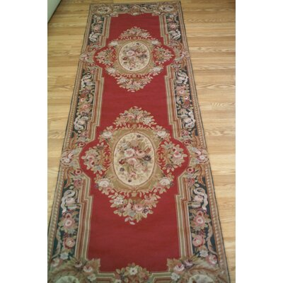 Aubusson Hand-Woven Burgundy Area Rug Rug Size: Runner 26 x 6
