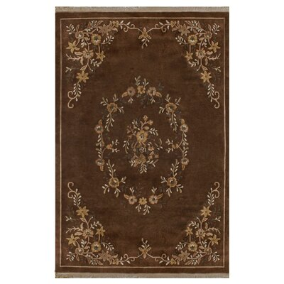 Aubusson Hand-Tufted Brown Area Rug Rug Size: Rectangle 76 x 96