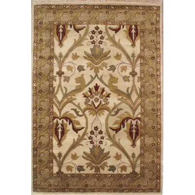 American Home Classic Arts & Crafts Antique Ivory & Sage Area Rug Rug Size: 56 x 86