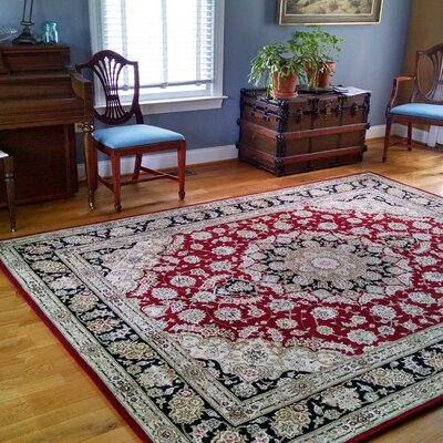 Hand-Tufted Burgundy/Red Area Rug Rug Size: Rectangle 36 x 56