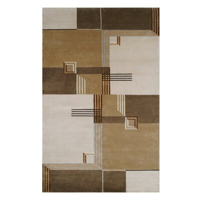 Creston Architectural Elements Hand Tufted Wool Brown Area Rug Rug Size: 3.6 x 5.6