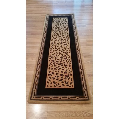 African Safari Gold/Black Cheetah Print Area Rug Rug Size: Runner 26 x 12