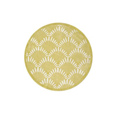 Aalin Shell Hand-Tufted Yellow Area Rug Rug Size: Round 5