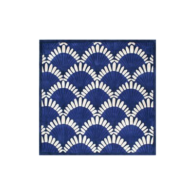 Aalin Shell Hand-Tufted Navy Area Rug Rug Size: Square 8