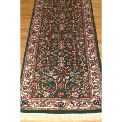 American Home Classic Kashan Emerald/Ivory Area Rug Rug Size: Runner 2'6
