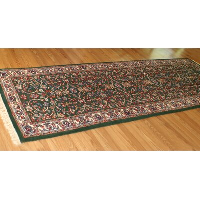 American Home Classic Kashan Emerald/Ivory Area Rug Rug Size: Runner 26 x 8