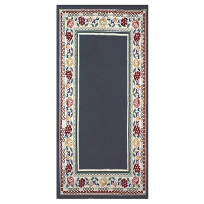 Bucks County Navy/Ivory Border Area Rug Rug Size: Runner 26 x 8