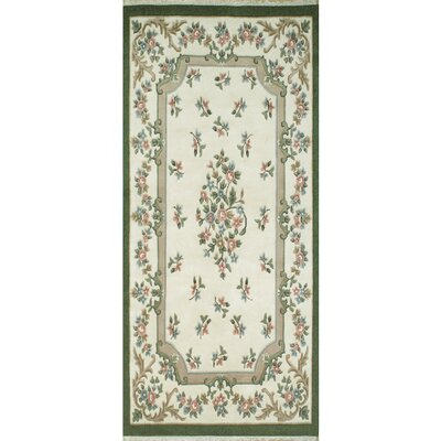 French Country Aubusson Ivory/Emerald Floral Area Rug Rug Size: Runner 26 x 6