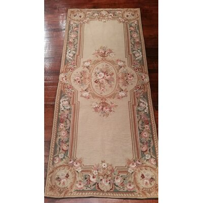 Liptak Needlepoint Aubusson Hand Woven Wool Beige/Teal Area Rug Rug Size: Runner 26 x 6