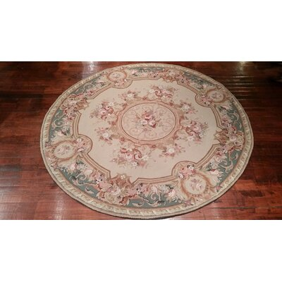 Liptak Needlepoint Aubusson Hand Woven Wool Beige/Teal Area Rug Rug Size: Round 5'