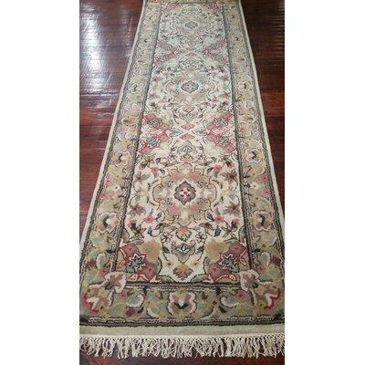 Classic Elegant Tabriz Antique Ivory Area Rug Size: Runner 26 x 8