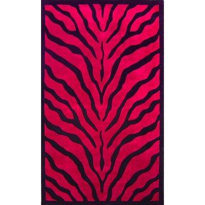 African Safari Pink/Black Zebra Print Area Rug Rug Size: 8 x 11