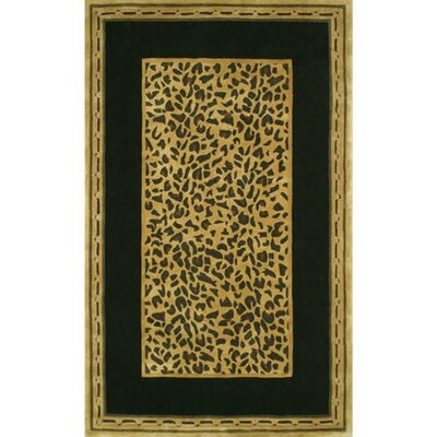 African Safari Gold/Black Cheetah Print Area Rug Rug Size: Round 8