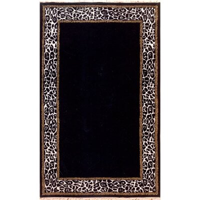 African Safari Animal Skin Border Black/Off White Area Rug Rug Size: 5 x 8