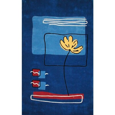 Beach Rug Dark Blue Flower Area Rug Rug Size: 36 x 56