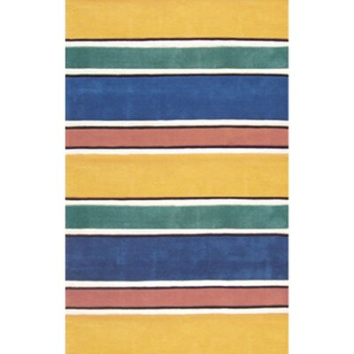 Beach Rug Bright Yellow Ocean Stripes Area Rug Rug Size: Runner 26 x 12
